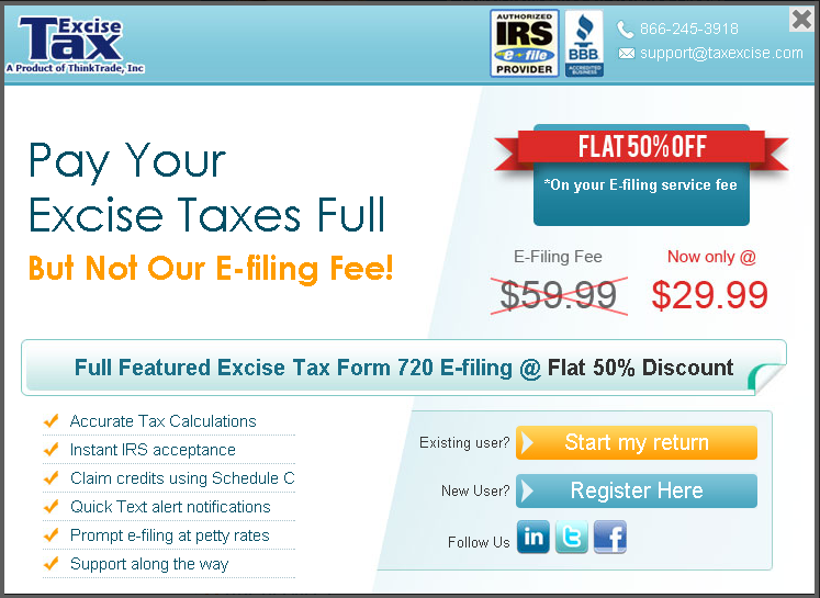 E File Form 720 Now With Flat 50 Off Thinktrade Inc Blog